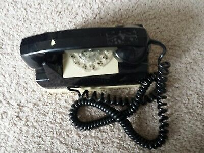 Vintage Rotary GTE Automatic Electric Wall Phone, black, Mounting plate WORKS