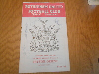 ROTHERHAM UNITED V LEYTON ORIENT  5/4/1965 signed by 4 ROTHERHAM UNITED PLAYERS