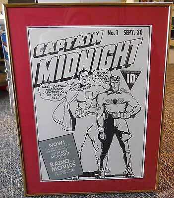 Captain Midnight #1 Cover Recreation    Framed and Matted