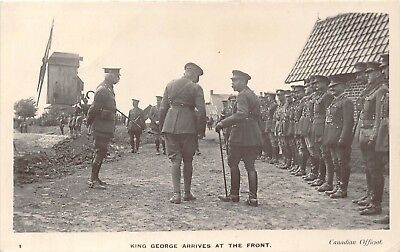 POSTCARD    ROYALTY  WWI    George  V    Arrives  at  the  Front