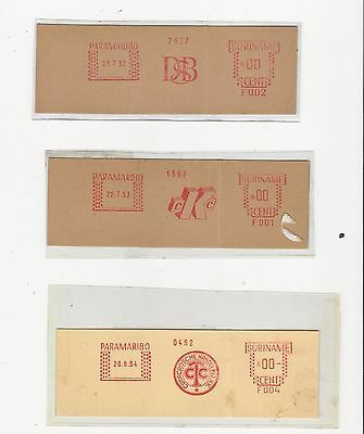Surinam: 3 proof od franking machine year 50 with thematic notes. SU05