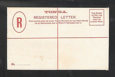 Tonga: Postal Stationery, mint, 4 Pence. Cross Red for Registration. TG108