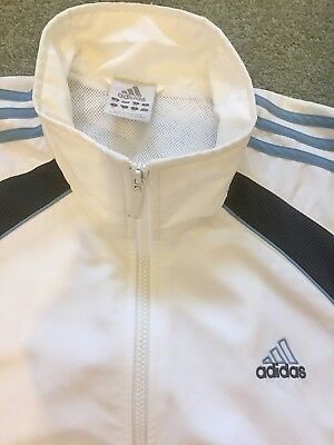 Adidas White And Blue Stripe Soft shell Jacket Size 42/44/large golf/Cricket