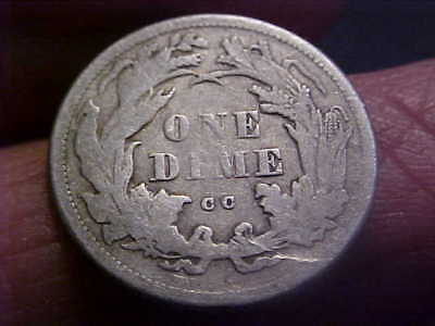 1875 CC CARSON CITY Seated Liberty Dime - VERY GOOD Better Date