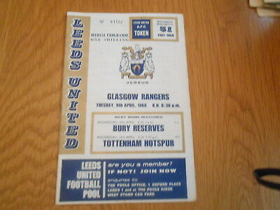Leeds United V Glasgow Rangers  Inter Cities Fairs Cup 1/4 Final  9/4/1968