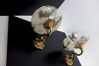 Beautiful Pair Of Antique Alabaster + Bronze Wall Lamps Sconces France 1920s
