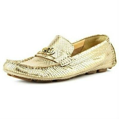 6c1be881f2d Cole Haan Womens Shelby Gold Ch.Logo II Square Toe Suede Loafer Shoes Size 7