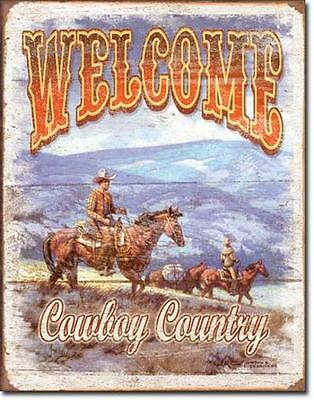 Cowboys Willkommen - Welcome Cowboy Country USA Westernreiten Metall Plakat
