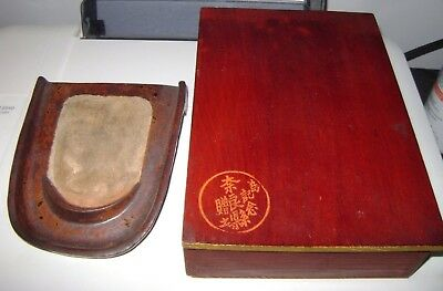 OLD VINTAGE Antique Japanese wood box with signed ink stone Japan