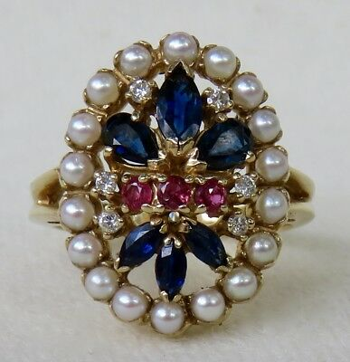 Ornate Natural Sapphire~Ruby~Diamond & Cultured Pearl 14K Gold Cocktail Ring~Sgd