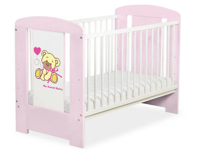 BABY WOODEN COT SOLID PINEWOOD 120cm x 60cm + MATTRESS 21 COLOURS