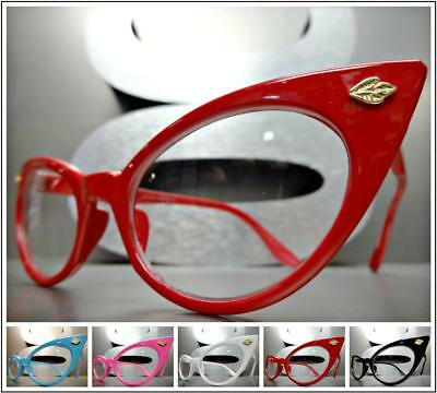 CLASSIC VINTAGE RETRO CAT EYE Style Clear Lens EYE GLASSES Small Frame 5 Colors