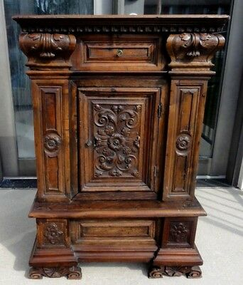 Antique Gothic Heavily Carved Side Cabinet, Night Stand,end Table European
