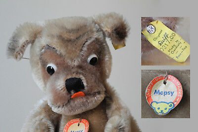 ALL ID STEIFF Mopsy Dog Puppet, Original German mohair plush Toy button Vintage