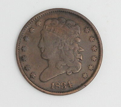 1834 U.s. Classic Head Half Cent Copper Coin No Reserve
