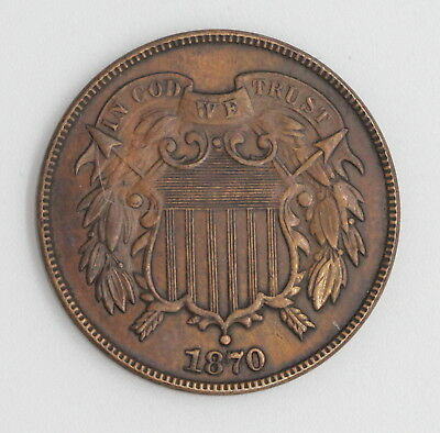1870 U.s. Union Shield Two Cent Bronze Coin No Reserve