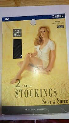 vintage m&s stockings 10 denier Navy 2 pairs