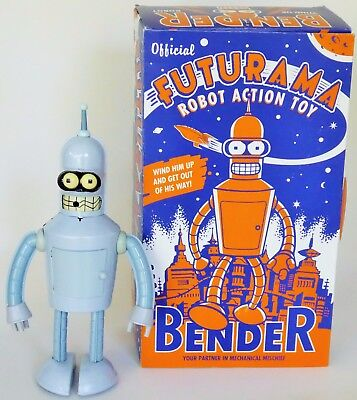 Futurama Bender Robot Action Toy Tin Wind Up With Box  2000 Matt Groening