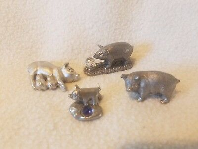 Vintage Collectible Miniature  Pewter Pigs & Piglets Lot of 4
