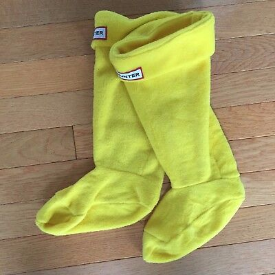 HUNTER KIDS S 1-3 Cuff Welly Fleece Tall Boot Socks Liners Yellow New