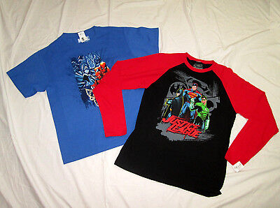 Superhero Boys Lot of 2 T-Shirts Size Large 14-16 Marvel Justice League
