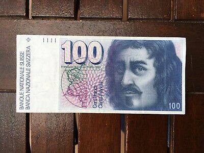100 Swiss Francs Sixth Series Banknote 100 CHF Lightly Circulated