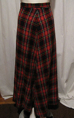 Vintage 60s Black Red Green White Plaid Wool Flared Maxi Skirt A Line