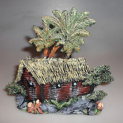 altes Elastolin Blockhaus mit Palmen, für 7 cm Figuren, Masse - Wildwest -