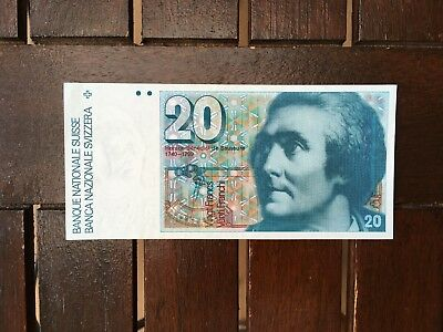20 Swiss Francs Sixth Series Banknote Almost Uncirculate, Crisp and Clean!