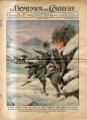 1941 WW2 Italian troops fight on the front of Greece the blast of grenade Print