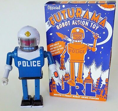 Futurama Url Police Robot Action Toy Tin Wind Up With Box  2000 Matt Groening