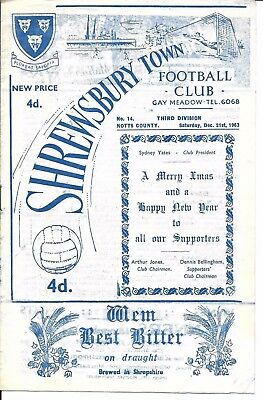 63/64 Shrewsbury Town v Notts County in Division 3 on 21st Dec 1963