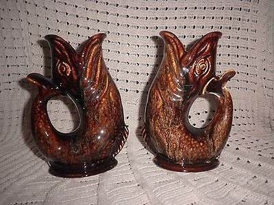 Fosters Studio Cornwall England Pair Of Pottery Fish Gurgle Glug Jugs Excellent