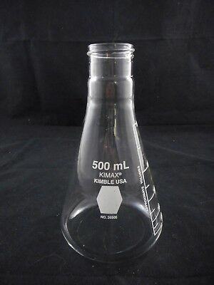 Kimble KIMAX Glass 500mL Conical Erlenmeyer Narrow Mouth Flask Screw Cap 38-430
