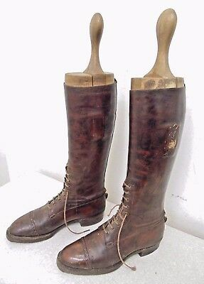 Antique Vintage Military Flack Smith Leather Officers Calvary Riding Boots Used