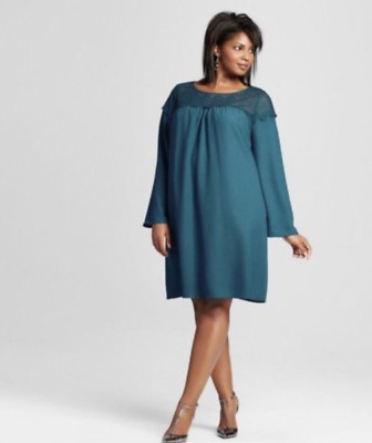 b8b7620fdd9 NEW Women s Ava   Viv Plus Size Dress New Peacock Teal Green Size ...