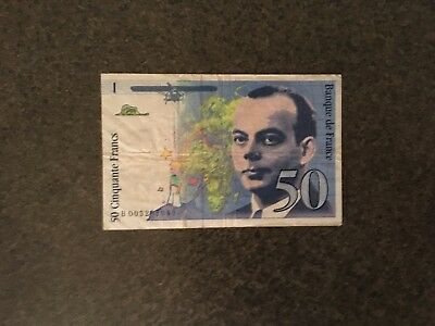 50 Cinquante French Francs (FRF) Banknote 1993 Fine Circulated Specimen!