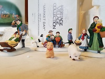 DEPT 56 MARKET DAY 3 pc set New England Village ACC + PIG AND BUNNY MINT 56413