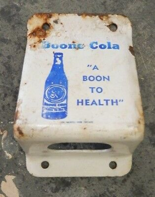 "Vtg - Boone Cola "" A BOON TO HEALTH "" Porcelain Advertising Bottle Opener Sign"