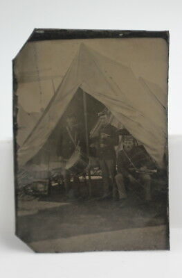 Antique Civil War Tintype Of Three Union Soldiers In Band -Nr