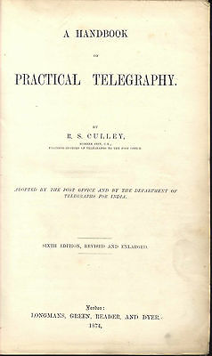 Early Electric Telegraph Handbook Culley Submarine Telegraphy 1874
