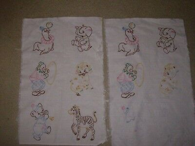 Vintage Embroidered Quilt Squares 3 unfinished Excellant condition