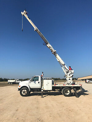 2000 Ford F750 Telelect 45' Digger Derrick Flatbed Utility Truck Diesel AC Pole