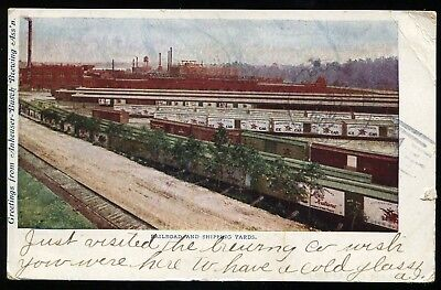 1907 UDB Postcard SHipping Yards at Anheuser Busch St Louis MO  RR Beer  B4241