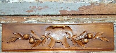 HAND CARVED WOOD PEDIMENT ANTIQUE FRENCH CARVED WOOD COAT OF ARMS CARVING c