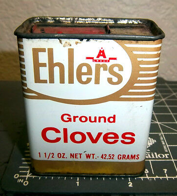 vintage EHLERS Ground Cloves 1.5 oz spice tin,  great graphics & colors