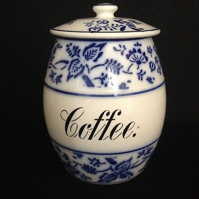 Antique German Pottery Blue Onion Pantry Storage Jar Coffee Cannister