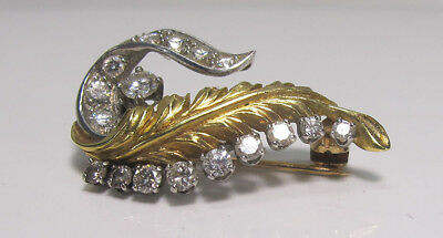 Antique Estate! 18K Yellow Gold Platinum & Diamond Feather Pin Brooch .72 ct yqz