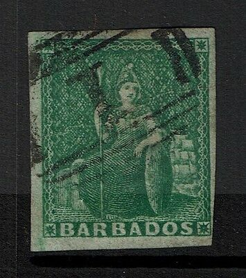 Barbados SG# 2, Used, Creased in Center  - Lot 111516