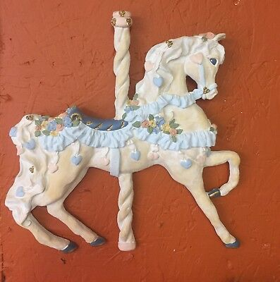 Artist June Sears Carousel Horse Plaque/wall Hanging
